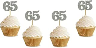 """Glitter Silver 65th Birthday Party Cupcake Toppers. 24 Pack Number 65"""" Cupcake Toppers"""