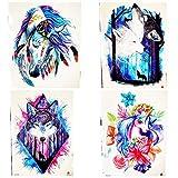 4 Piezas 3D Cuento De Hadas India Tatuaje Temporal Tribal Caballo Pony Hombres Colorido Pluma Tatuaje Pegatina Mujeres Arte Tatuaje