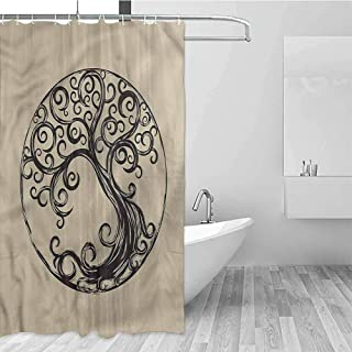 Gloria Johnson Tree of Life Extra Long Shower Curtain Curvy Tree Silhouette Mildew Fabric Shower Curtain W78 x L72 Inch