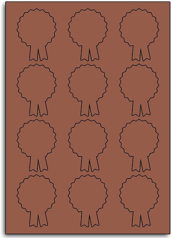 Multi Purpose Metallic Bronze Rosatte Shaped Labels - 12 Labels Per Sheet - 10 Sheets 50mm x 66mm B00BY228Y4  | Abrechnungspreis