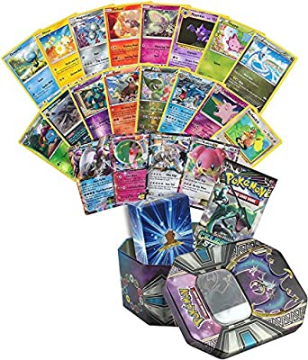 31 Assorted Pokemon Cards - 1 EX Ultra Rare, 5 Rares, 5 Holographics, 19 Common/Uncommons, 1 Assorted Booster Pack - Includes Collectible Pokemon Tin and Golden Groundhog Deck Storage Box from Golden Groundhog