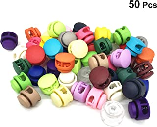 Healifty Double Hole Spring Cord Locks Round Ball Shaped Toggle Stoppers Buttons Ends 50PCS