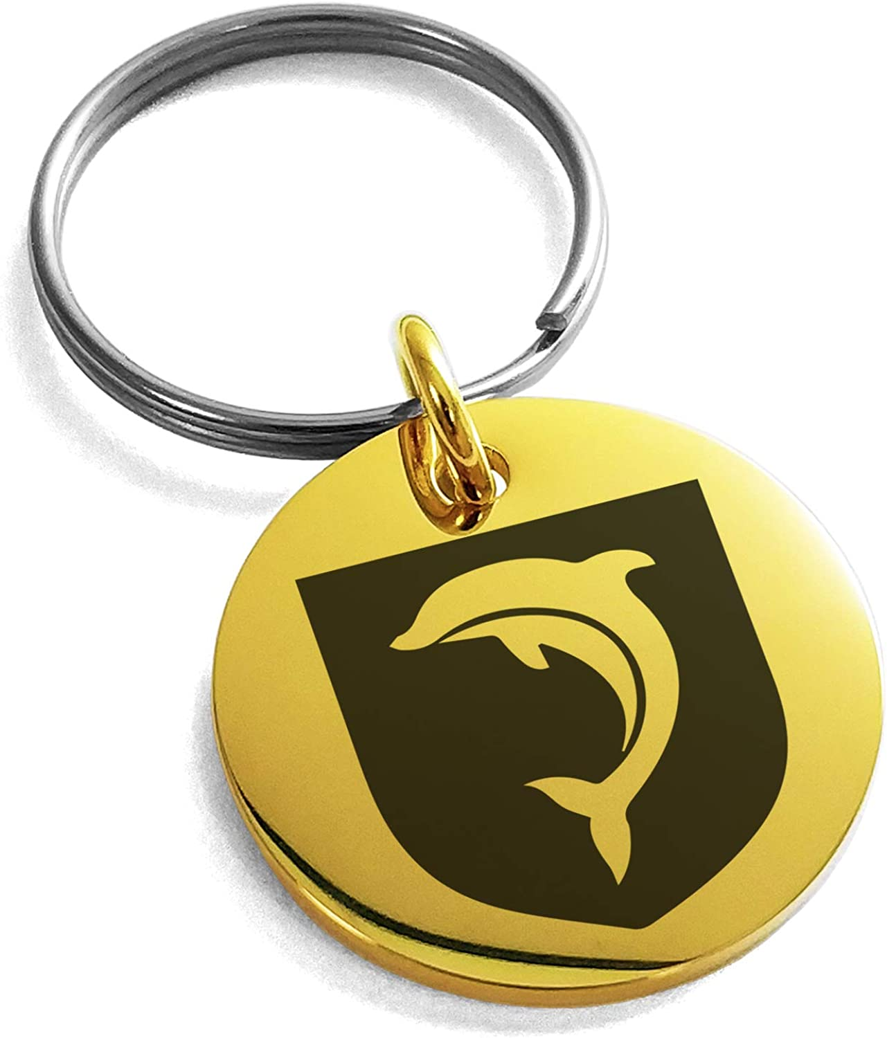 Tioneer Stainless Steel Dolphin Diligence Coat of Arms Shield Symbol Small Medallion Circle Charm Keychain Keyring