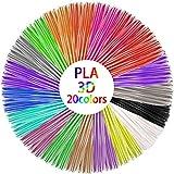 Filamento 3D PLA, filamento de 1,75 mm, lápiz 3D en 20 colores para impresora 3D y lápices 3D, 10 m cada color