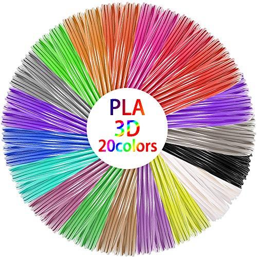 3D Stift Filament PLA, 3D pen Filament 1,75 mm, 3D Stift farben in 20 Farben für 3D Drucker und 3D-Stifte erhältlich,10 m jede Farbe
