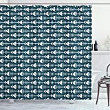 Ambesonne Animal Shower Curtain, Fish Bone Skeleton Pattern with Spines Sea Underwater Theme Illustration, Cloth Fabric Bathroom Decor Set with Hooks, 70' Long, Petrol Blue and White