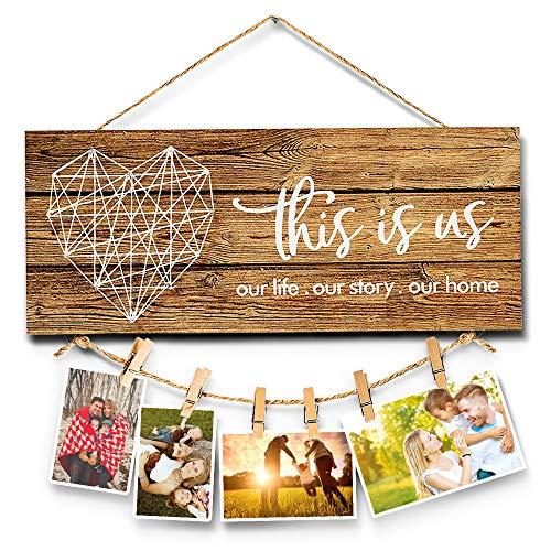 Walant Planken - Cartel rústico para pared con foto de la familia - This is US, 34 x 14 cm