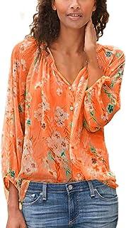 OULSEN Fashion Chic Women Floral Blouse Long Sleeve V Neck Button Summer Loose Casual Shirt Blouse Tops Women Plus Size