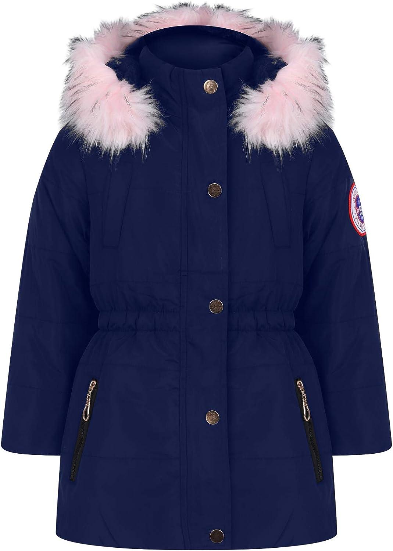 Children Girls Winter Faux FUR Coat Jacket Hooded Cotton Parka Jacket