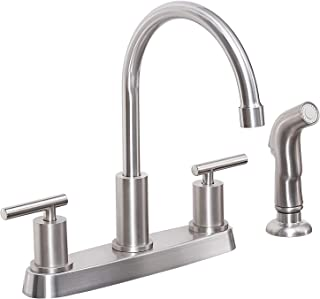 KINFAUCET Modern Two-Handle Kitchen Sink Faucet with Side Sprayer, High Arc 360 Swivel Stainless Steel 3 or 4 Hole Kitchen...