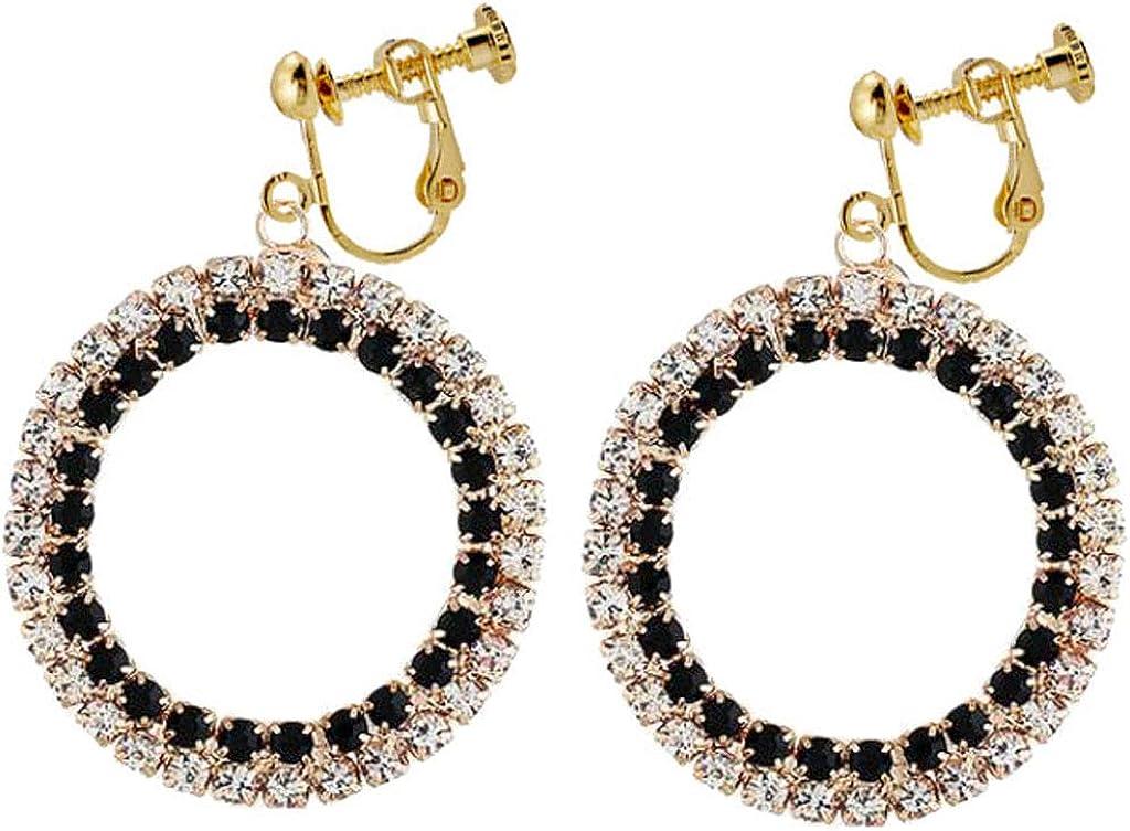 Shining CZ Crystal Rhinestone Drop Dangle Clip On Earrings Big Circle Back Screw Hoop Jewelry