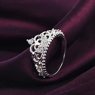 SeaISee Princess Queen Crown 925 Sterling Silver Plated Ring Design Wedding Crystal Size7