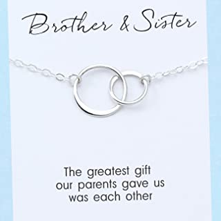 Brother & Sister Necklace • Sterling Silver • Two Connected Circles • Personalized Custom Card • Love and Friendship • Classic Simple Jewelry • Gift for Her