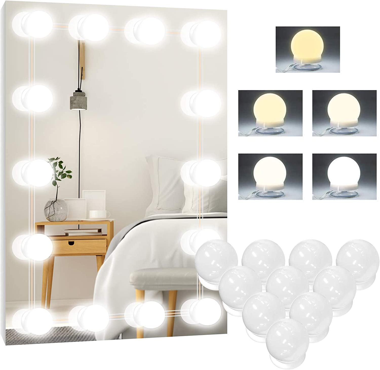 Badzimmer Spiegel 10 Dimmbar Schminklicht Make Up Licht Beauty Schminktisch Leuchte 5 Farben Hollywood Licht f/ür Spiegel Led Spiegelleuchte Spiegellampe f/ür Kosmetikspiegel Schminkleuchte