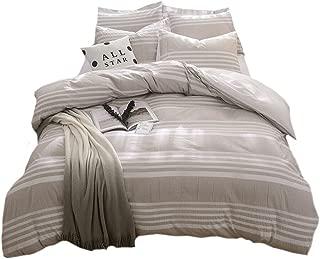 Lausonhouse Cotton Duvet Cover Set,100% Cotton Seersucker Duvet Cover with 2pc pillowshams,Yarn Dyed Striped Bedding Set- King - Khaki