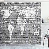 ABAKUHAUS Duschvorhang, Weltkarte auf Alten Backsteinmauer Graue Töne Weiß Global Kontinente Digital Druck, Blickdicht aus Stoff inkl. 12 Ringe für Das Badezimmer Waschbar, 175 X 200 cm