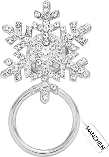 MANZHEN Delicate Clear Crystal Winter Snowflake Flower Magnetic Eyeglass Holder Christams Jewelry