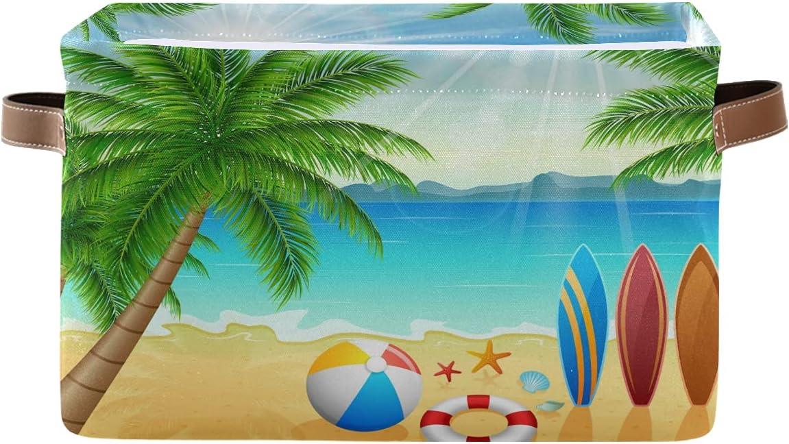 AUUXVA Tropical Tree New sales Beach Sun Storage Fabric Bin T Basket Max 68% OFF Large