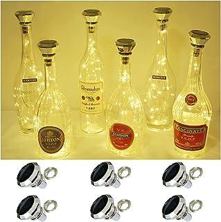 Solar Wine Bottle Lights, 6 Pack Solar Diamond Cork Lights(Bottle NOT Include), 20LEDs String Fairy Lights Waterproof Outd...