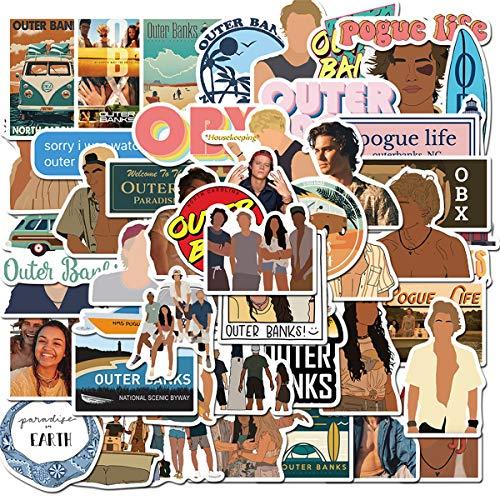 YOUTHSTORE Outer Banks TV Aufkleber für Laptop, 50 Stück, Wasserflasche, Gepäck, Snowboard, Fahrrad, Skateboard, Kinder, Teenager, Erwachsene, wasserdicht, ästhetische (äußere Banken)