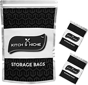 KITCH & NICHE Pack of 25 - 1 Gallon Small Mylar Bags for Food Storage - Resealable Stand-up Zipper Pouches for Long Term Storage - Extra Thick 9.5 Mil - 10