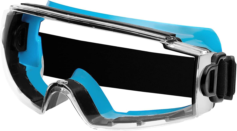 ACE Gafas de seguridad SpecVis de visión completa - para usuarios de gafas - para laboratorio y trabajos con productos químicos - EN 166 - Gris-Azul/Transparente
