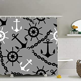 zhufeifan get sea Backgrounds Textures Anchor Illustrations Clip Art Fabric Bathroom Decor Set with Hooks, 60 x 72 Inches