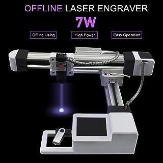 Máquina grabadora láser grabadora láser 7000 mW Máquina grabadora láser mini portátil Máquina cortadora láser talla 7W para grabado de madera/plástico/cuero Área de trabajo 155MM*175MM