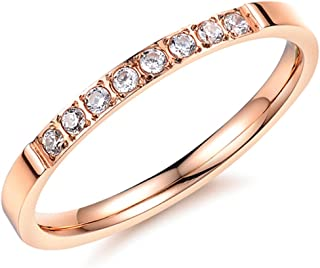 Women 2mm Luxury Titanium Stainless Steel Cubic Zirconia CZ Inlay Rose Gold Ring Wedding Engagement Band