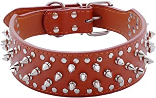 """Hoot PU Leather Adjustable Spiked Studded Dog Collar 2"""" Wide 31 Spikes (S(Neck 17""""-20""""), Light Brown)"""