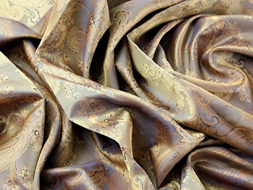Minerva Crafts Paisley-Stoff, Jacquard-Futter, 2 Stück, Antik-Gold, Meterware