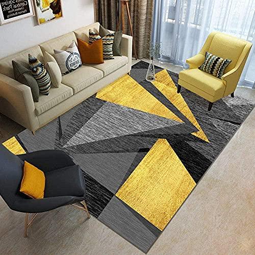 votgl Tapis de Salon décoré Tapis géométrique irrégulier Noir Gris Jaune Tapis intérieur Confortable et résistant à la saleté