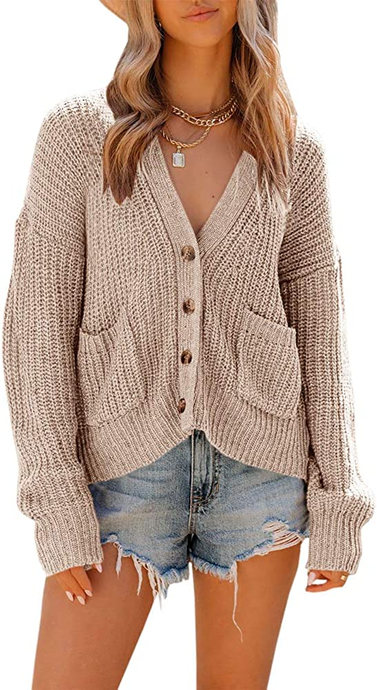 Fekermia Womens Long Sleeve Button Down Knit Cardigans Sweaters Open Front Chunky V Neck Oversized Outwear with Pockets