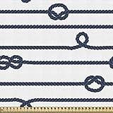 ABAKUHAUS Armada Tela por Metro, Sea Marine Nudos Náuticos, Decorativa para Tapicería y Textiles del Hogar, 1M (148x100cm), Azul Marino Y Blanco