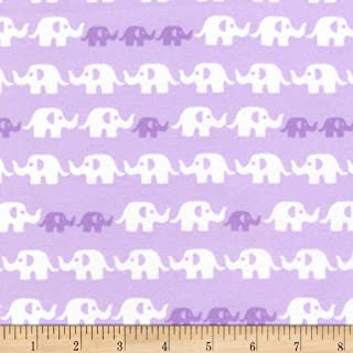 Robert Kaufman Cozy Cotton Flannel Elephants Lavender, Fabric by the Yard