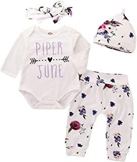 NIHINTE 3Pcs Infant Baby Girl Outfits Little Sister Romper Long Sleeve Tops + Gold Heart Pants + Hat Clothes Set