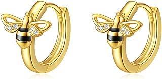 14k Gold Plated Bee/Sloth/Elephant/Panda/Leaf Earrings Sterling Silver Small Hoop Hypoallergenic Cartilage Earrings for Women