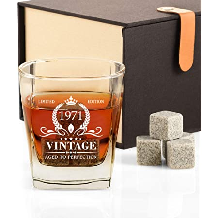 50th Bday Decorations Party Favors 50th Birthday Gifts for Men Vintage 1971 Whiskey Glass and Stones Funny 50 Birthday Gift for Dad Husband Brother 50 Year Old Anniversary Present Ideas for Him