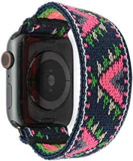 Tefeca Pink V Pattern Stretch Elastic Compatible/Replacement Band for Apple Watch 38mm 40mm 42mm 44mm (Black Adapter for 38mm/40mm Apple Watch, Wrist Size : 7.5-8.0 inch (L5))
