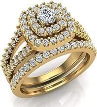 Cushion Shape Wedding Rings Set Diamond Bridal Sets Double Halo Style 1.10 ctw (G, VS)