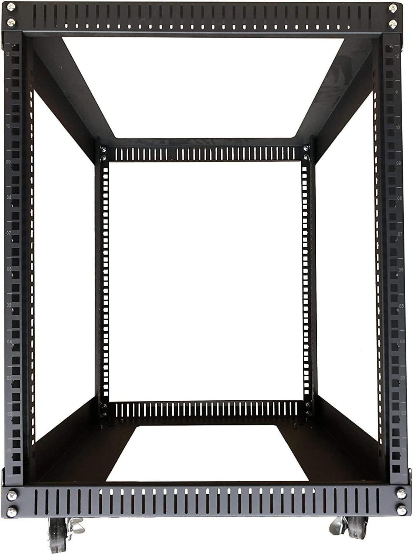 TECHTOO Server Rack 12U Standing Open Frame Rack with 4 Wheels 4 Posts 19Inch Server Equipment Rack Heavy Duty Cold Rolled Steel for Network Servers & AV Gear (12U)
