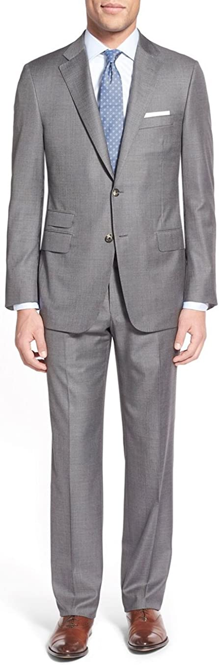Luciano Natazzi Men's Two Button 2 Piece Modern Fit Suit Ticket Pocket Jacket