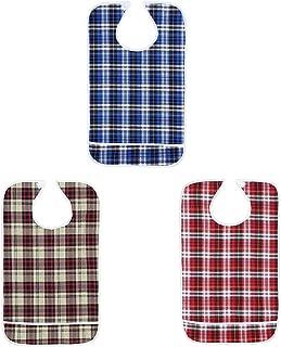 Babero Adultos, Protectores de Ropa Babero Impermeable Lavable para Comidas Babero con Bolsillo Inferior para Personas Mayores, Juego de 3 PCS