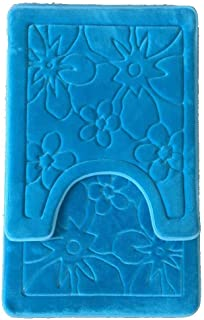 Maiija 2 Piece Set Coral Fleece Embossed Non-Slip Bathroom Mat Super Soft Memory Foam Toilet Bath Mat Contour Rectangle Size (Teal-Flower)