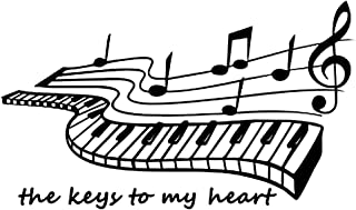 AUHOKY The Keys to My Heart - Piano Music Notes Notation Band Wall Sticker Decal, Removable DIY Art Mural Wallpaper Home Decor for Kids Bedroom Living Room Gift (19×11inch, Black)