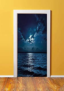 Night 3D Door Sticker Wall Decals Mural Wallpaper,Majestic Dramatic Sky Clouds and Full Moon Over Seascape Calm Tranquil Ocean,DIY Art Home Decor Poster Decoration 30.3x78.5838,Dark Blue White