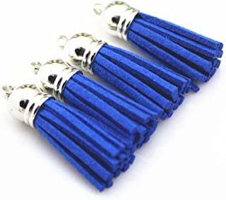 QIANHAILIZZ 40 Silver Cap 1-1/2 Inch Faux Suede Tassel Tassel Charm with CCB Cap for Keychain Cellphone Straps Jewelry Charms (RoyalBlue)