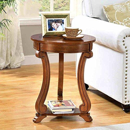 FEI Table d'appoint en bois massif Table d'appoint Table ronde Petit Table ronde Table d'appoint Φ46 * H59CM