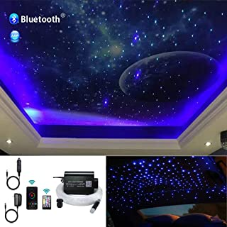 Huaxi 16W Car Home RGBW APP+Music Control Fiber Optic Lights Star Ceiling Light Kit, 28key RF Musical Remote with Sound Sensor Light Source and Mixed Fiber Cable 430pcs(0.75+1+1.5mm)9.8ft/3m