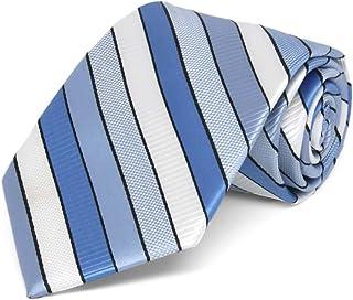 TieMart Boys' Wave Blue Douglas Stripe Necktie